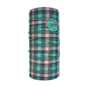 B4579grn-FIZAN Headband/Neckwarmer Plaid Collection